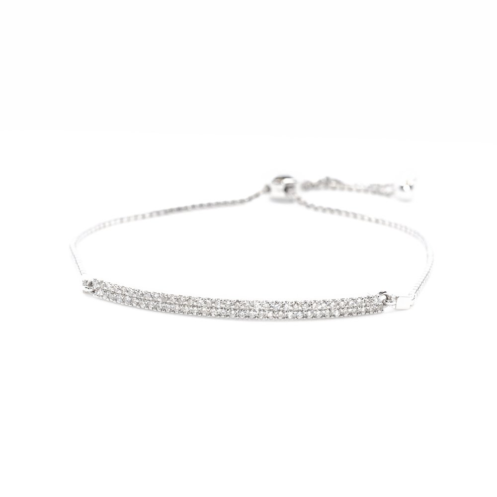 14k White Gold Natural Diamond Pave Bar Bollo Bracelet
