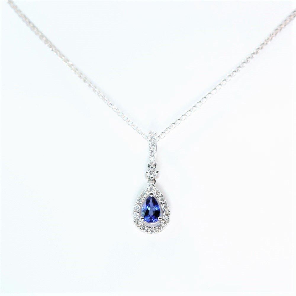 14k White Gold Natural Blue Sapphire and Diamond Halo Pendant