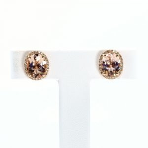 14k Rose Gold Natural Morganite and Diamond Earrings