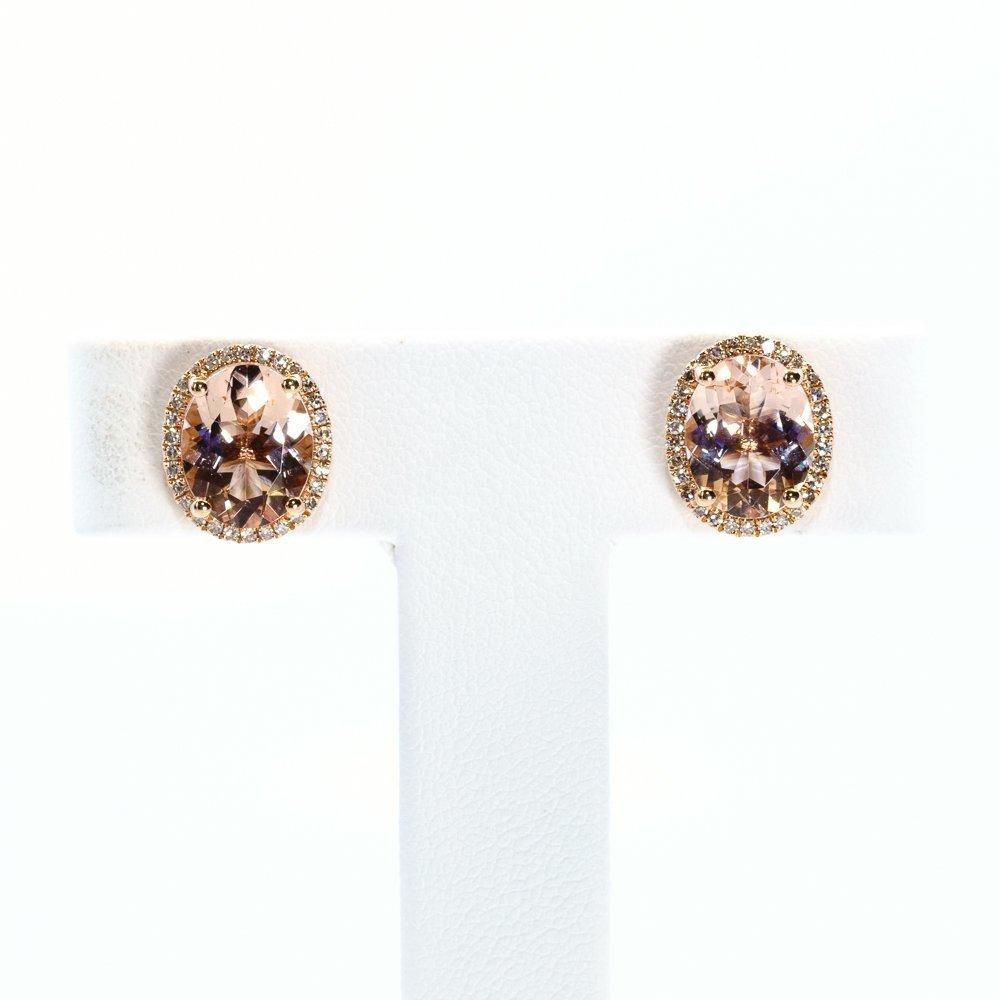 14k Rose Gold Natural Morganite and Diamond Earrings