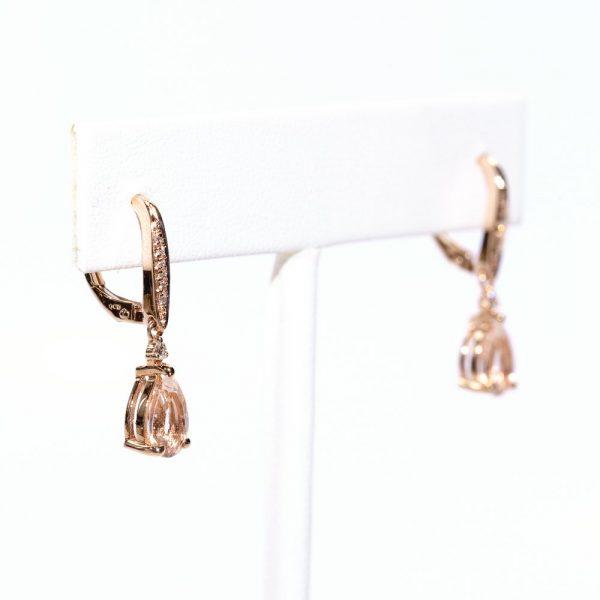 14k Rose Gold Natural Morganite and Diamond Dangle Earrings