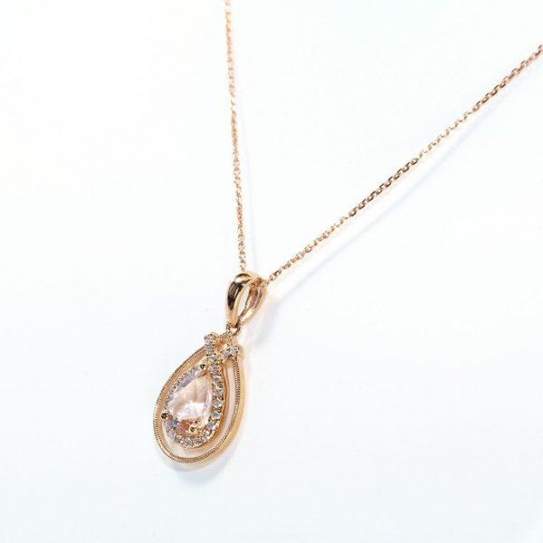 14k Rose Gold Natural Morganite and Diamond Halo Pendant