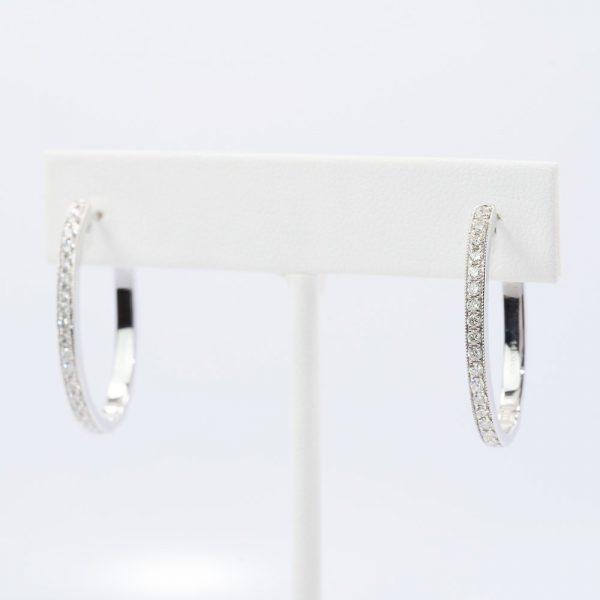 14k White Gold Natural Diamond Oval Hoop Earrings