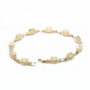 14k Yellow Gold Ethiopian Opal Link Bracelet