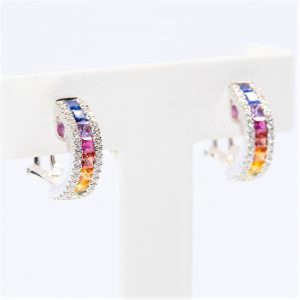 18k White Gold Natural Multi-Colored Sapphire and Diamond Hoop Earrings