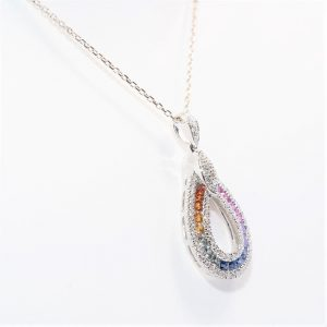 18k White Gold Natural Multi-Colored Sapphire and Diamond Pendant