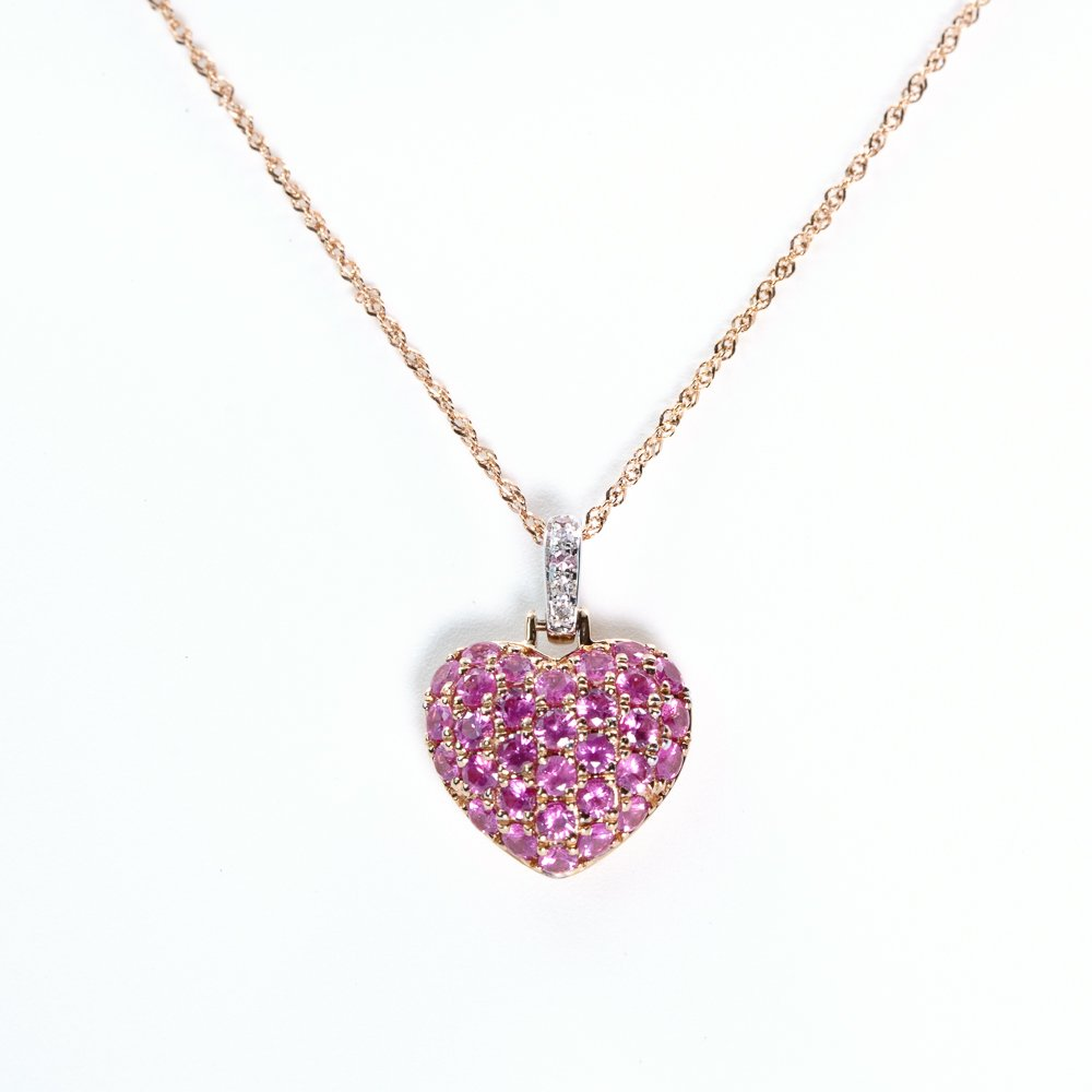 14k Rose and White Gold Natural Pink Sapphire Heart Pendant
