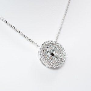 14k White Gold Natural Diamond Double Circle Halo Pendant