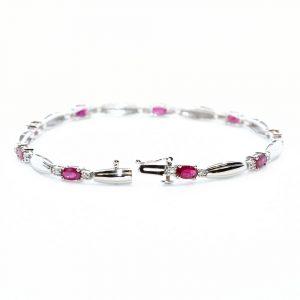 14k White Gold Natural Ruby and Diamond Link Bracelet