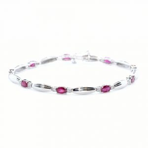14k White Gold Natural Ruby and Diamond Link Bracelet