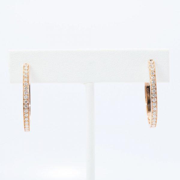 14k Rose Gold Natural Diamond Oval Hoop Earrings