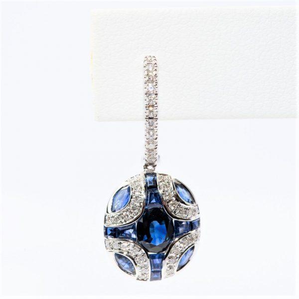 14k White Gold Natural Blue Sapphire and Diamond Dangle Earrings