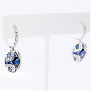 14k White Gold Natural Blue Sapphire and Diamond Dangle Earrings