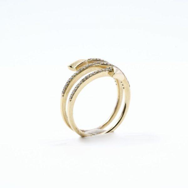 14k Yellow Gold Natural Diamond Coil Arrow Ring