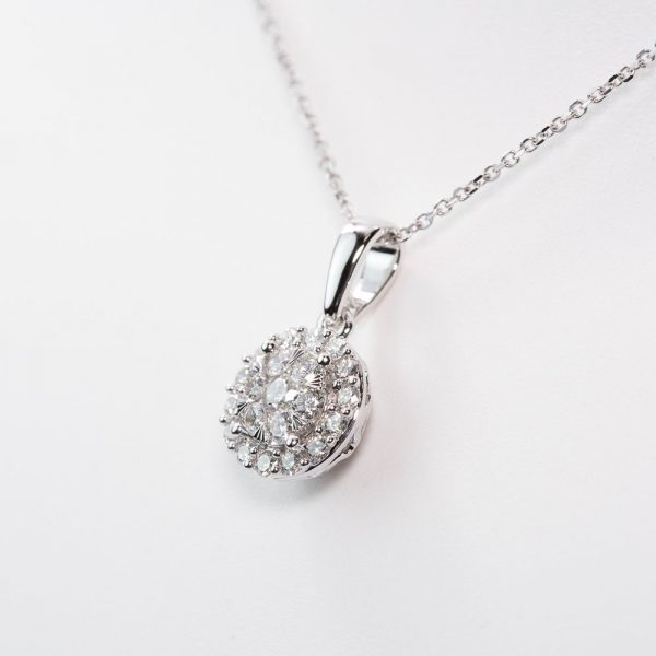 14k White Gold Natural Diamond Round Halo Cluster Necklace