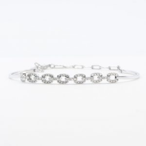 14k White Gold Natural Diamond Pave Link Bracelet