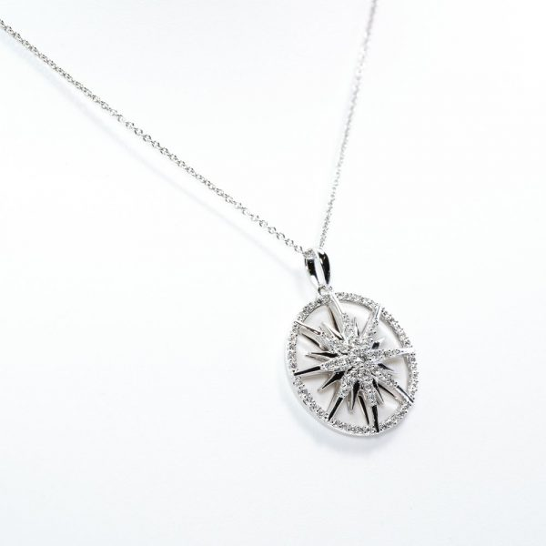 14k White Gold Natural Diamond Sunburst Pendant