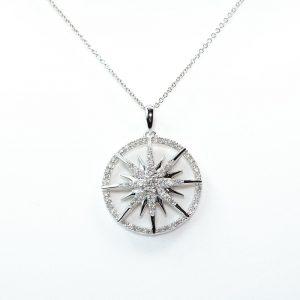 14k White Gold Natural Diamond Sunburst Pendant