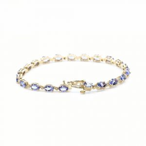 14k Yellow Gold Natural Tanzanite and Diamond Link Bracelet