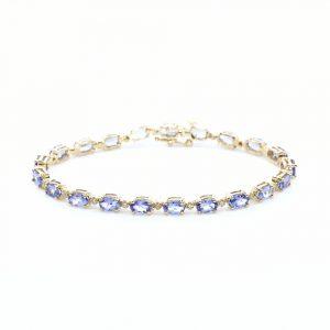 14k Yellow Gold Natural Tanzanite and Diamond Link Bracelet