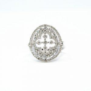 14k White Gold Natural Diamond Fashion Ring