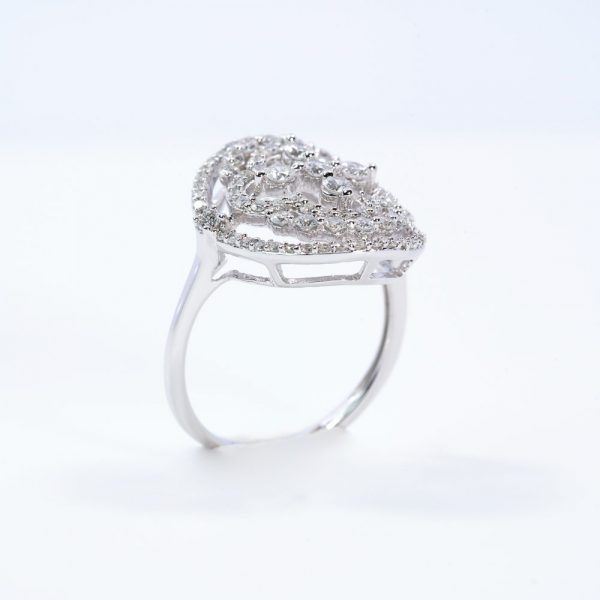 14k White Gold Natural Diamond Fashion Ring