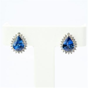 14k White Gold Natural Blue Sapphire and Diamond Halo Earrings