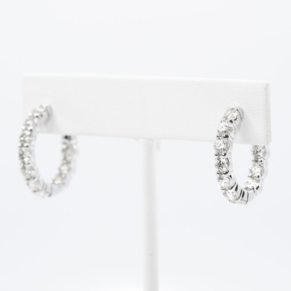 14k White Gold Natural Diamond Inside Out Round Hoop Earrings