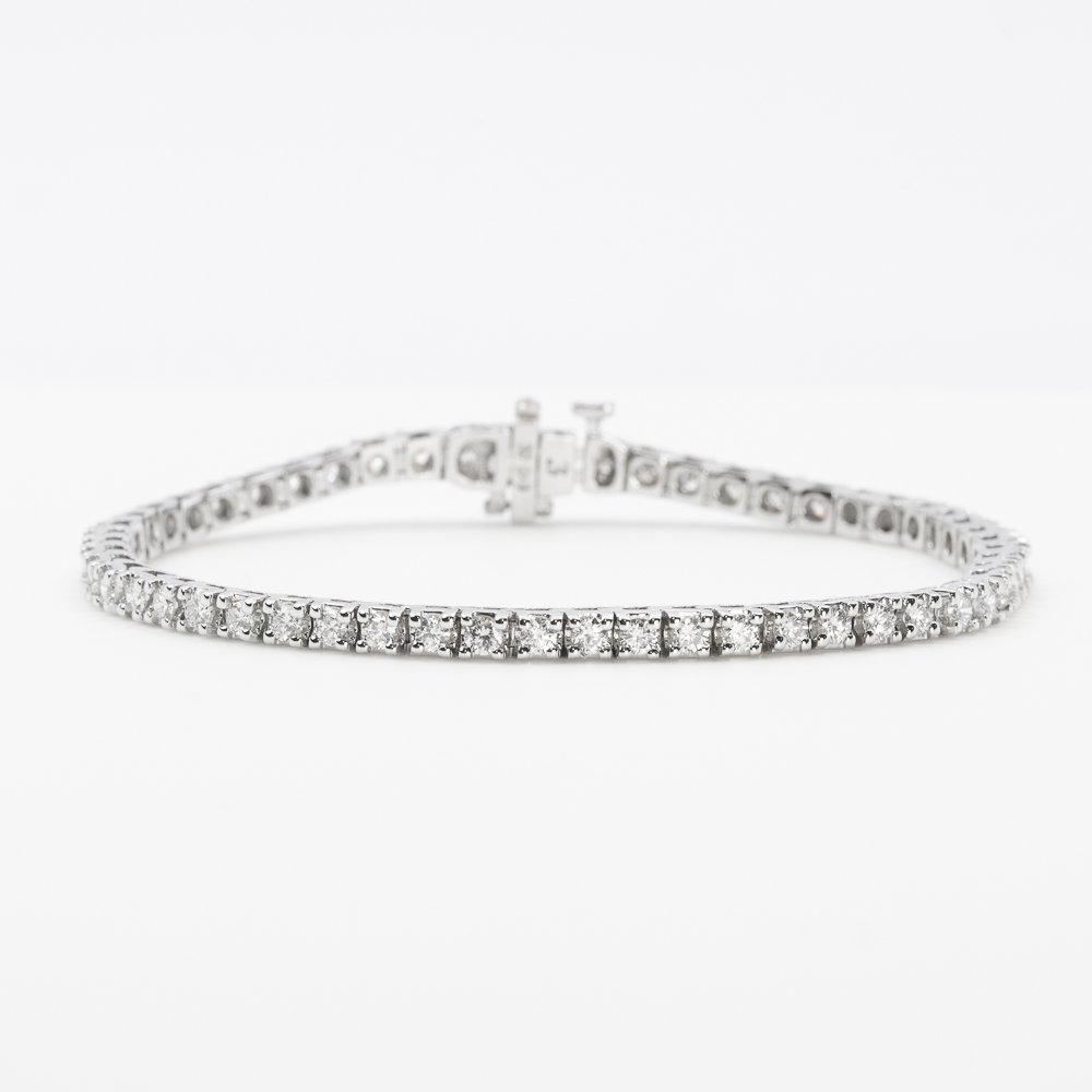 14K White Gold Natural Diamond Tennis Bracelet