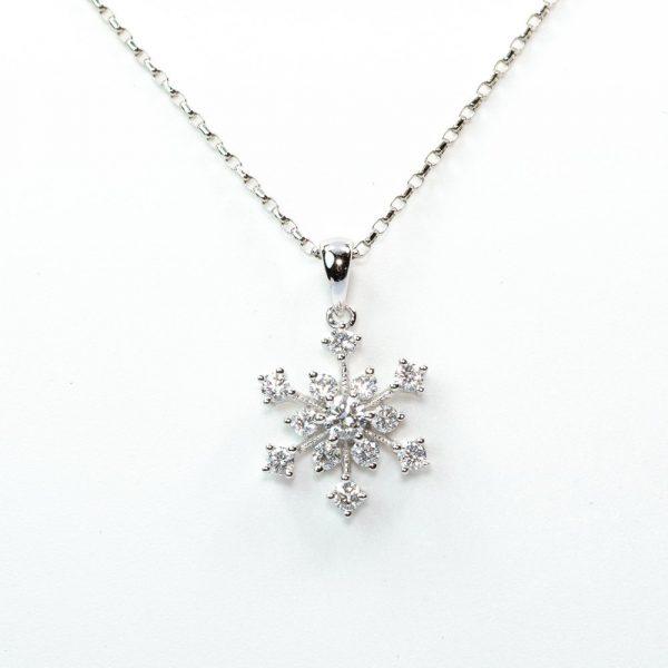 14k White Gold Natural Diamond Snowflake Necklace