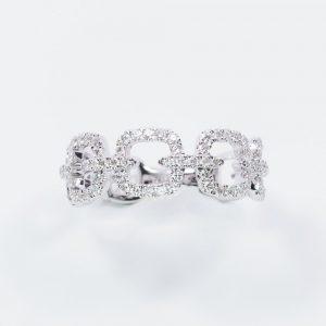 14k White Gold Natural Diamond Connecting Circles Ring