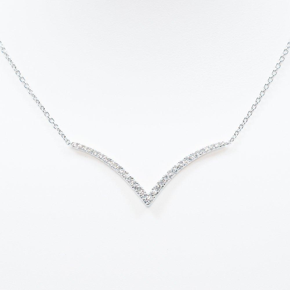 14k White Gold Natural Diamond V-Shape Necklace