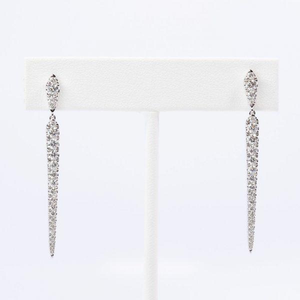 14k White Gold Natural Diamond Taper Dangle Earrings