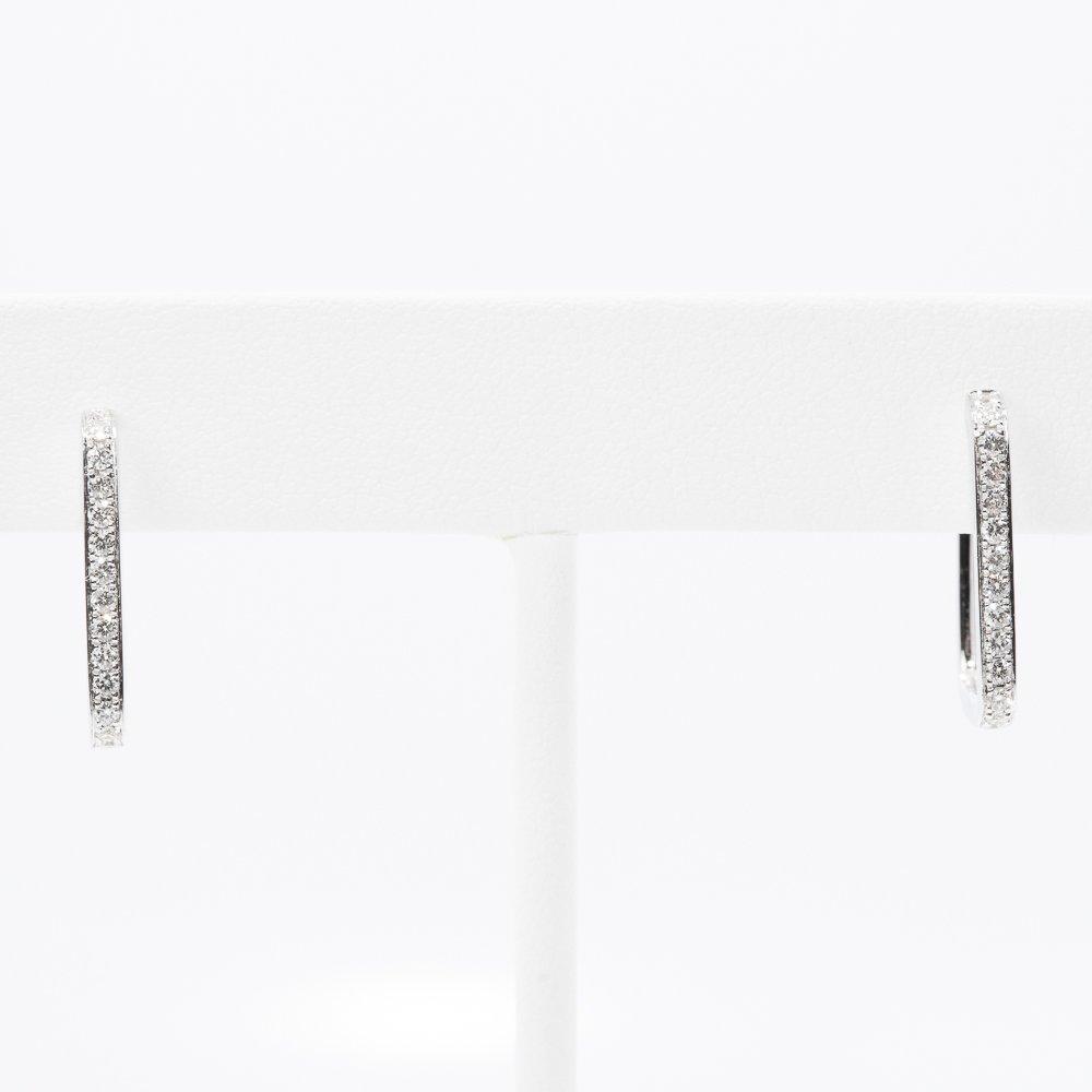 14k White Gold Natural Diamond Rectangle Hoop Earrings