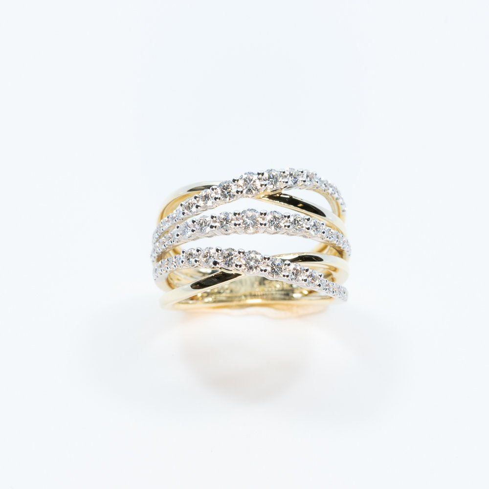 14k Yellow and White Gold Natural Diamond 3-Row Crossover Ring