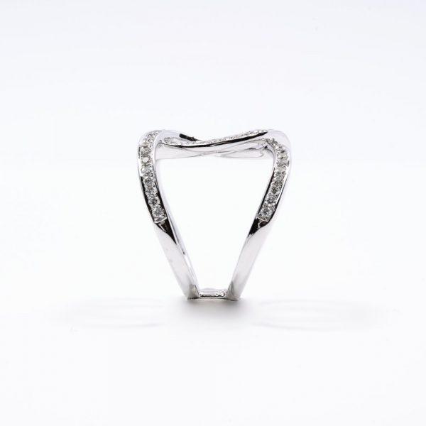14k White Gold Natural Diamond Linking Circles Ring