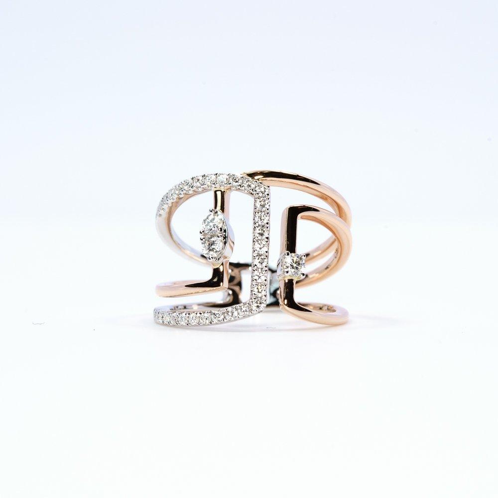 14k White and Rose Gold Natural Diamond Layered Ring