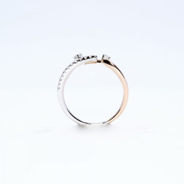 14k White and Rose Gold Natural Diamond Layered Ring