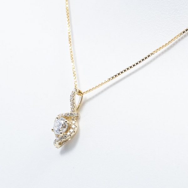 14k Yellow Gold Natural Diamond Halo Necklace