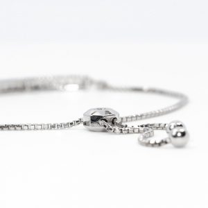 14k White Gold Natural Diamond Pave Bar Bollo Bracelet