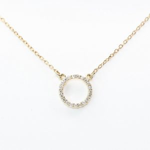 14k Yellow Gold Natural Diamond Circle of Love Necklace