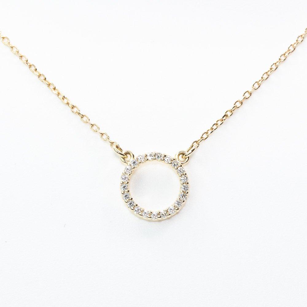 14k Yellow Gold Natural Diamond Circle of Love Necklace