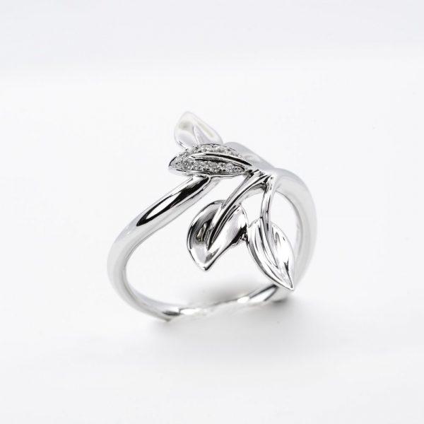 14k White Gold Pave Diamond Multi-Leaf Ring