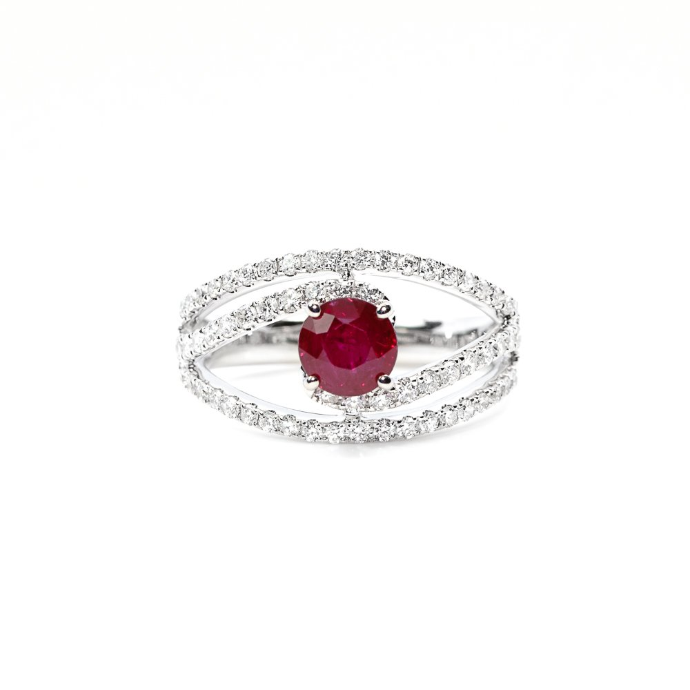 18k White Gold Natural Ruby and Diamond Open Spiral Ring
