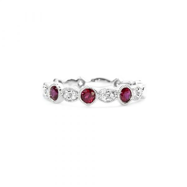 18k White Gold Natural Ruby and Diamond Ring