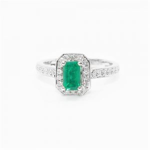 18k White Gold Natural Emerald and Diamond Halo Ring