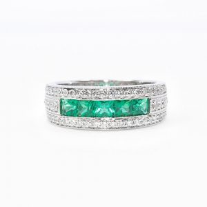 14k White Gold Natural Emerald and Diamond Ring
