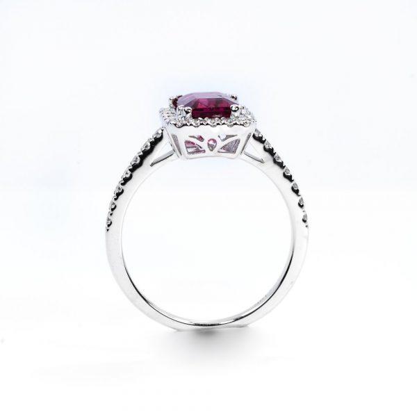18k White Gold Natural Rubellite and Diamond Halo Ring