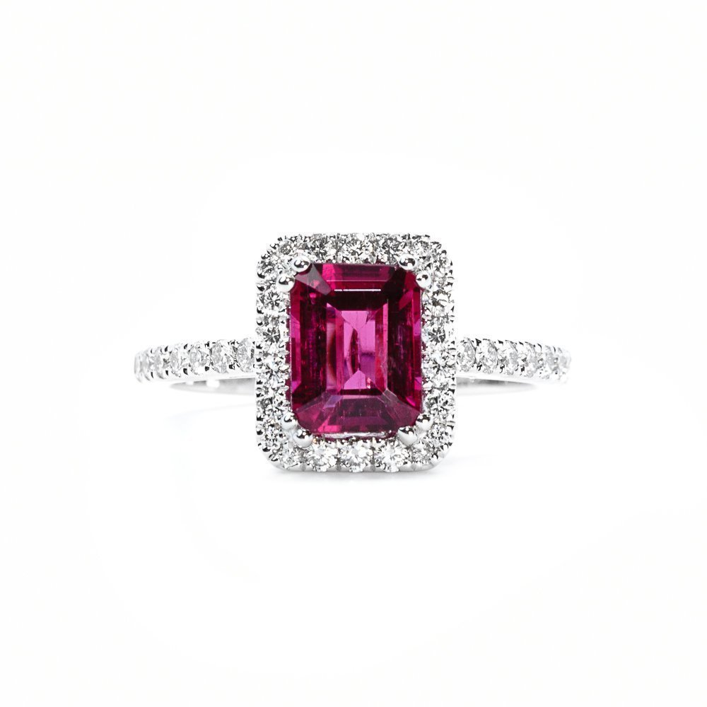 18k White Gold Natural Rubellite and Diamond Halo Ring