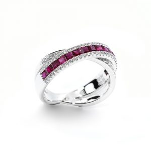 18k White Gold Natural Ruby and Diamond Crossover Ring